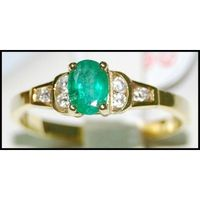 Diamond Wedding Solitaire Emerald 18K Yellow Gold Ring [RS0143]