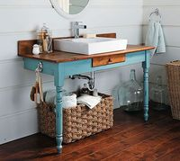 Recycled Bathroom Vanity Project. table turned vanity