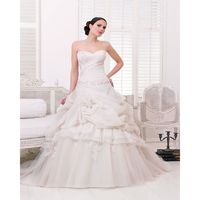 Exquisite Ball Gown Sweetheart Beading Lace Ruching Chapel Train Organza&Tulle Wedding Dresses - Dressesular.com