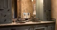 Absolutely beautiful!! His and Hers sinks Rustic Old Style Home Decor Home Design Home Decorating Home Party Ideas Furniture Decoration Ideas D.I.Y Do It Yourself
