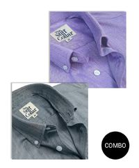 Lavender and Grey Herringbone 2 Ply Premium Giza Cotton Button Down Shirt Combo �'�3599.00