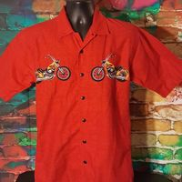 No Boundaries Red Motorcycle Flames Shirt Button Down Short Sleeves Size Small $13.34