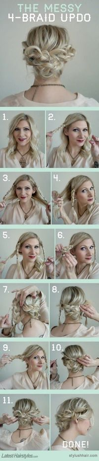"""Love messy, arty hair -- teetering *just* this side of CRAZY looking. """"Easy Braid Updo on Confessions of a Hairstylist. ... 