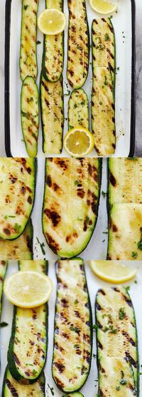 """Grilled Lemon Butter Zucchini �€"""" the freshest and juiciest grilled zucchini ever, with lemon butter and herb. This summer staple is a crowd pleaser   rasamalaysia.com"""