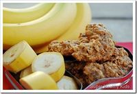 Banana Cookies for Baby~When browsing the baby food aisle, I notice most of the first baby foods with one ingredient are pretty healthy. Most only have a fruit or vegetable with a little water. However, when you move up into the toddler food and snack foo...