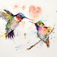 Hummingbirds ~ artist Dean Crouser #art #journal #watercolor