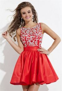 Embellished Short Red Homecoming Dresses 2014