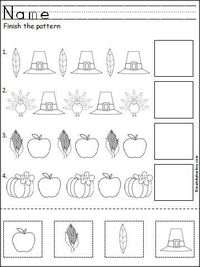 This is a free Thanksgiving pattern worksheet for Kindergarten or Pre-K math for practicing ABA patterns. Students cut, paste, and color the Thanksgiving pictures to practice their fine motor skills and pattern recognition.