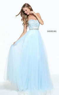 Beaded Blue Sherri Hill 51045 Lace Tulle Long Prom Dress
