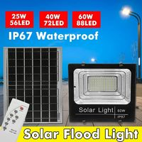 25w/40w/60w Solar Flood Light Solar LED Spotlight W/ Manual/Remote Control Solar Panel IP67 Waterproof