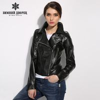 WINTER PALACE leather jacket women Short female leather jacket locomotive style sheepskin coat R1736.70