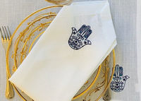 Embroidered blue Hamsa placemats & napkins Set $6.44