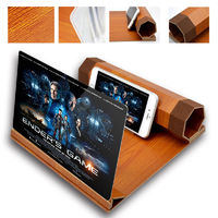 "Unversal 12"" 3D HD Rollable Wood Phone Screen Magnifier Video Movie Amplifier For Smart Phone"