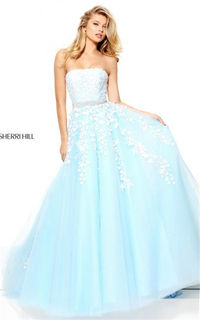 Light Blue/Ivory Appliques 50864 Sherri Hill Strapless Lace Long Gown 2017