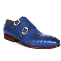 Johny Weber Handmade Double Monk In Blue Ostrich Leather