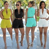 Women's sexy candy color stand-up collar single-breasted sleeveless piece shorts with belt $30.00