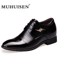 MUHUISEN Men Dress Shoes Spring Autumn Genuine Leather Business Height Increasing Flats Shoes $99.98