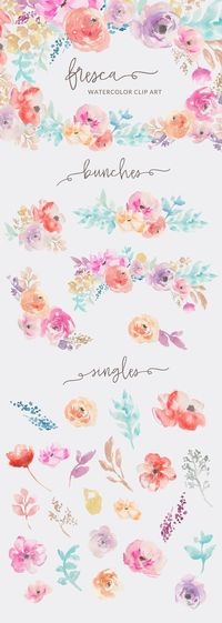 Enjoy This Free Tropical Watercolor Flower Clip Art by Angie Makes. Download Includes Lots of Pretty Tropical Watercolor Flower Images Free For Personal Use