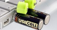 Charge USBCELL AA rechargeable batteries using a normal USB port. Built-in USB connector. No battery charger required.