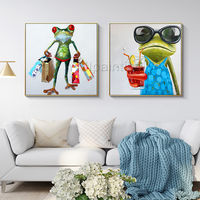 Set of 2 wall art Pet Portrait Frog animal paintings On Canvas Original framed Wall art Pop Art palette knife Wall pictures $149.00