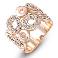 Rose Gold Plated Multi-Circle Rings With Stones Ring £17.95