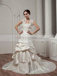 SATIN PRINCESS WEDDING DRESS WITH APPLIQUE AND BOLERO