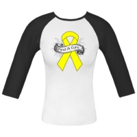 Endometriosis Find A Cure Fitted Raglan T-Shirts spotlighting a yellow awareness ribbon with a banner scroll for advocacy