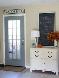 Love the sign above the door. Need to do that above my back French doors