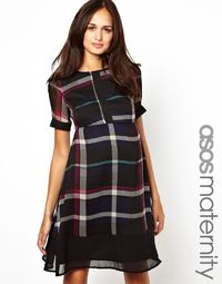 ASOS Maternity Exclusive Skater Dress In Check