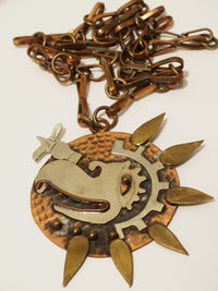 Mexico Mixed Metal Mayan Eagle/Hawk Copper/Brass Large Starburst Necklace. $64.75