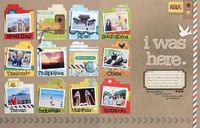 Awesome! A way to catalog all of the places visited in a single trip (by Geralyn Sy at Studio Calico) ... I might use this as an intro or conclusion page for any given scrapbook... (You could do the same with a length of time: i.e. Freshman ye...