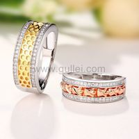 Gullei.com Gold Plated Silver Engagement Rings Set for 2 with Engraving