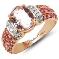 Vintage 10K Rose Gold 2.76CT Oval Cut Pink Morganite White Diamond Pink Sapphire Ring $415.00