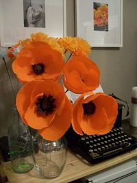 poppies diy. these are crepe paper but could be done same in fabric