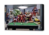 Marvel Superheroes Relax Playing Pool: Black Widow, Hulk, Nightcrawler, Iron Man, Thor, Spider-Man & Wolverine - Mounted Canvas Wall Art £19.99