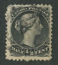Canada #21i (SG#53) 1868-1876 1/2c Black Large Queen Perf. 12 Thick Soft paper F-70 Used $74.99