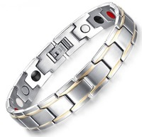 Width: 12mm Length 21cm Weight: 50g Stainless Steel Magnets Adjustable Strap Fold - Over Clasp Silver Plated Decoration : IP Gold Plating    Elements description:    White: Negative Ion Black: Germanium Red: Far Infrared Grey: Magnets