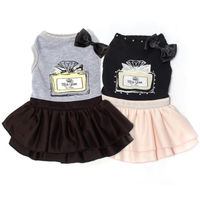 Miss Glam Dress - Give your dog a glam-look with this stylish Miss Glam dress! This super soft cotton dress features a glamorous Miss Glam perfume bottle printed on a super soft cotton and adorned with a bow and row of rhinestones. It's 3 tiered cas...
