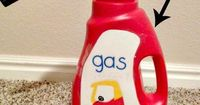 DIY Cozy Coupe Gas Can: Use an empty wisk bottle to make this adorable accessory for you kid's bike, car, or cozy coupe