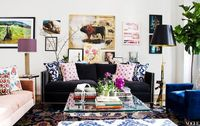 """Apartment 1 living room �€"""" The are and the charcoal velvet sofa with nailhead trim..."""