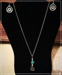 Blue Swirl Lotus Flower Necklace and Earring Set $8.50