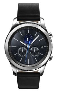 Samsung Galaxy Gear S3 Classic 46 mm Stainless Steel Silver Case and Black Leather Band