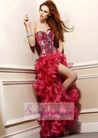 Sparkly Corset Top Ruffled Fuchsia High Low Prom Dress 2014