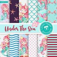 Mermaid Digital Papers, Mermaid Papers, Mermaids, Princess Papers, Ocean Digital Papers, Under the Sea Papers, Ocean Background Papers $7.00