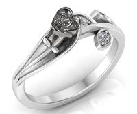 18K Unique Leaf Engagement Ring, White Gold Rose Flower Ring, Love Ring with Diamonds, Floral ring, Birthday Gift For Her, Gift $474.00