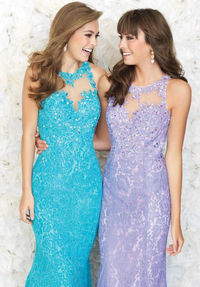 Madison James 15-151 Lacey High Neck Evening Dresses