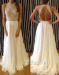 "Charming Chiffon White Long Lace Prom Dresses,Evening Dresses �€"" 2015 prom dresses, prom dress"