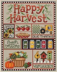 Sue Hillis Happy Harvest - Cross Stitch Pattern. Model stitched on 14 Ct. Summer Khaki Aida or 28 Ct. Summer Khaki Lugana with Sullivans Floss. DMC conversions