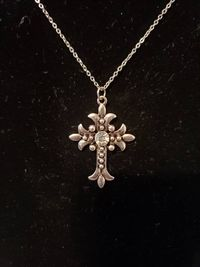 Antique Silver Cross Set with Diamond Accents $17.00