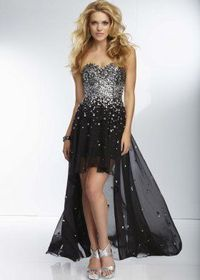Sequined Strapless Sweetheart Black High To Low Prom Dress
